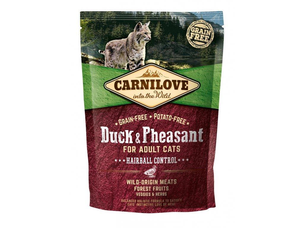 6594 carnilove cat grain free duck pheasant adult hairball control 400g