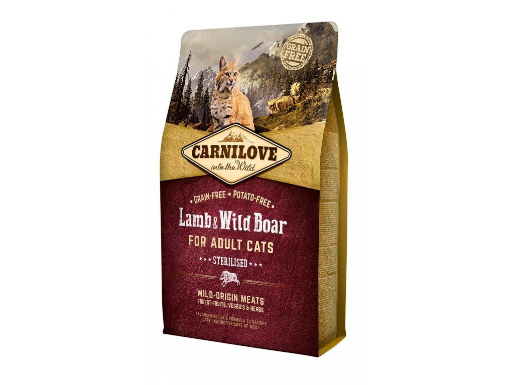6609 carnilove cat grain free lamb wild boar adult sterilised 2kg