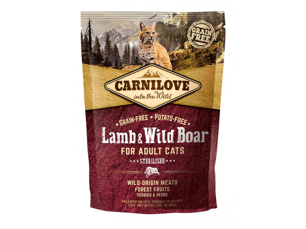 6612 carnilove cat grain free lamb wild boar adult sterilised 400g