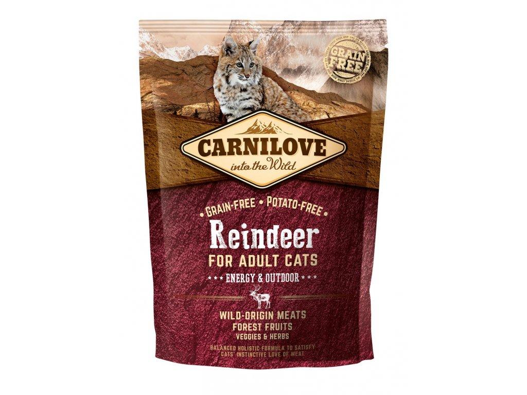 6621 carnilove cat grain free reindeer adult energy outdoor 400g