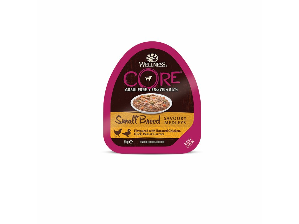 Wellness CORE Small Breed Savoury Medleys Flavoured with Roasted Chicken, Duck, Peas & Carrots 85g