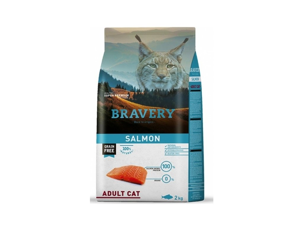 5706 bravery cat adult grain free salmon 2kg