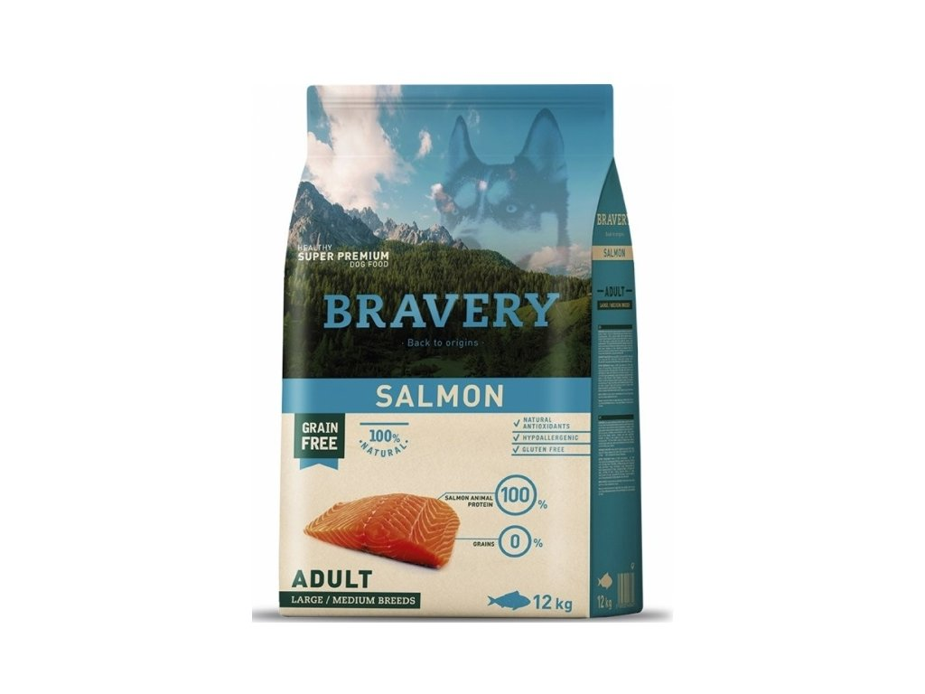 BRAVERY dog ADULT Large / Medium Grain Free salmon 12kg | Tenesco.cz