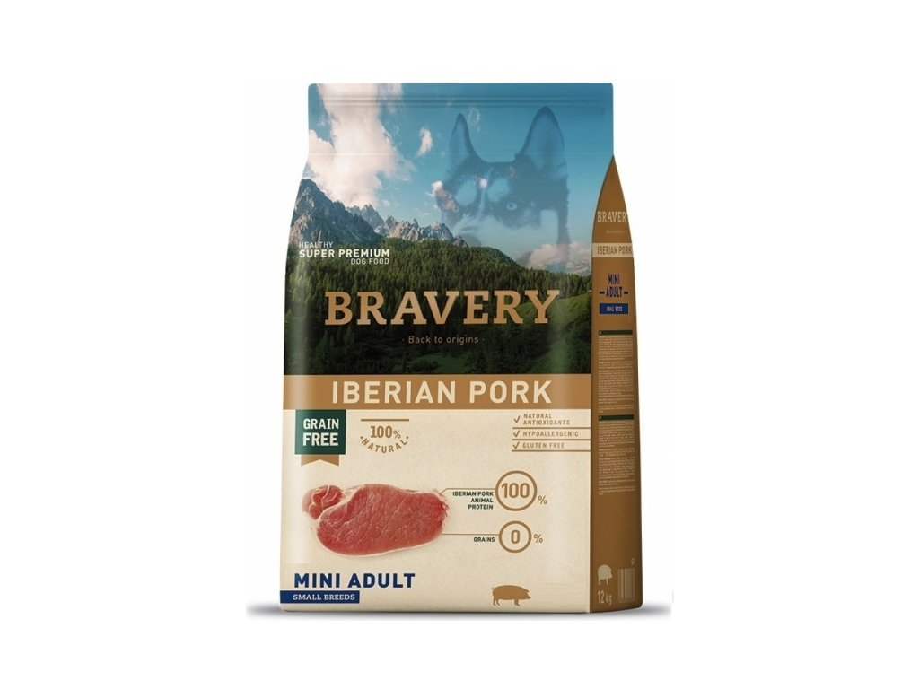 Bravery dog Adult Mini Grain Free Iberian pork 2 kg