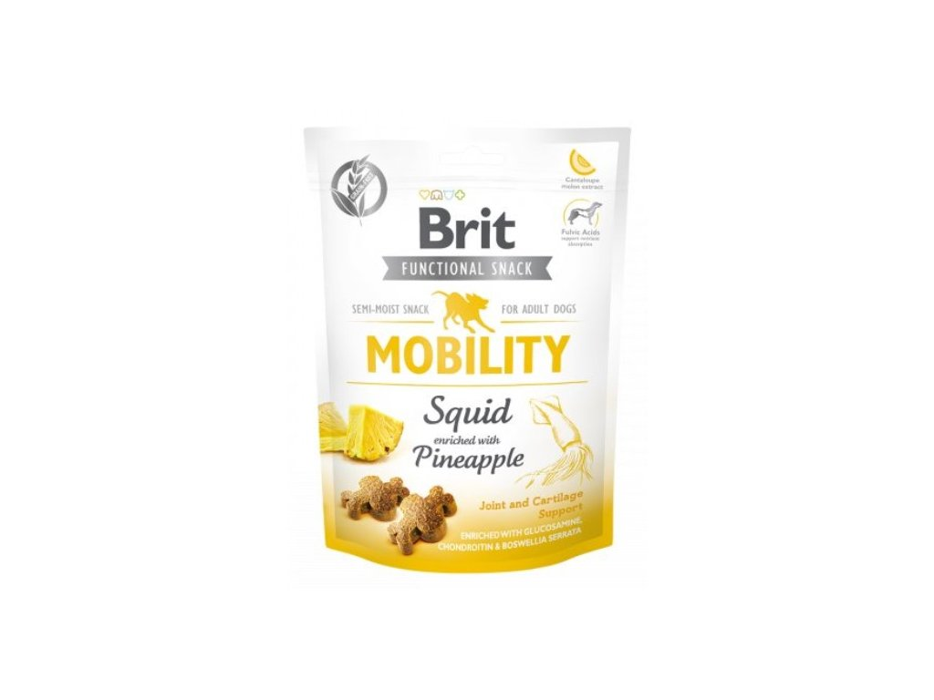 7596 brit care dog functional snack mobility squid 150g
