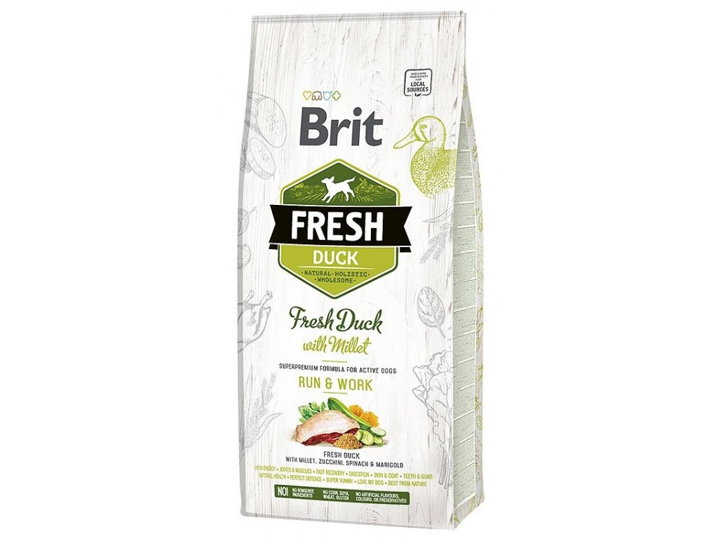 6927 brit fresh duck millet active run work 12kg