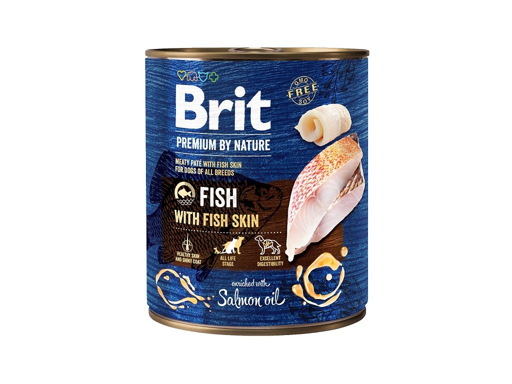 7662 brit premium by nature fish with fish skin 800g