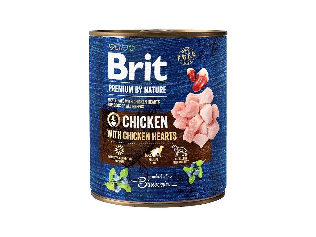 7647 brit premium by nature chicken with hearts 800g