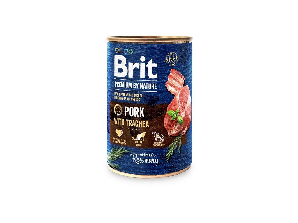 7644 brit premium by nature pork with trachea 400g