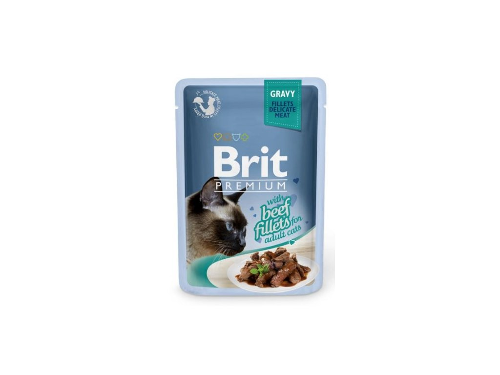 4464 brit premium cat delicate fillets in gravy with beef 85g