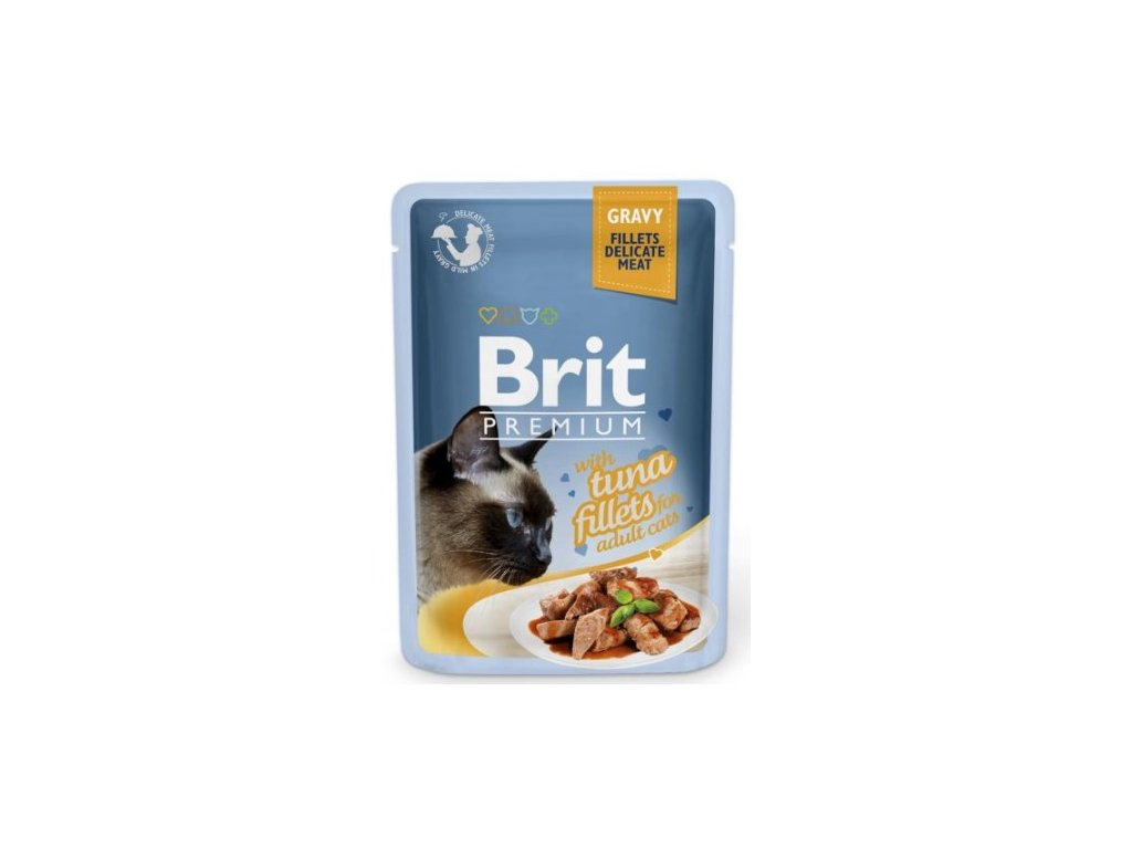 4461 brit premium cat delicate fillets in gravy with tuna 85g