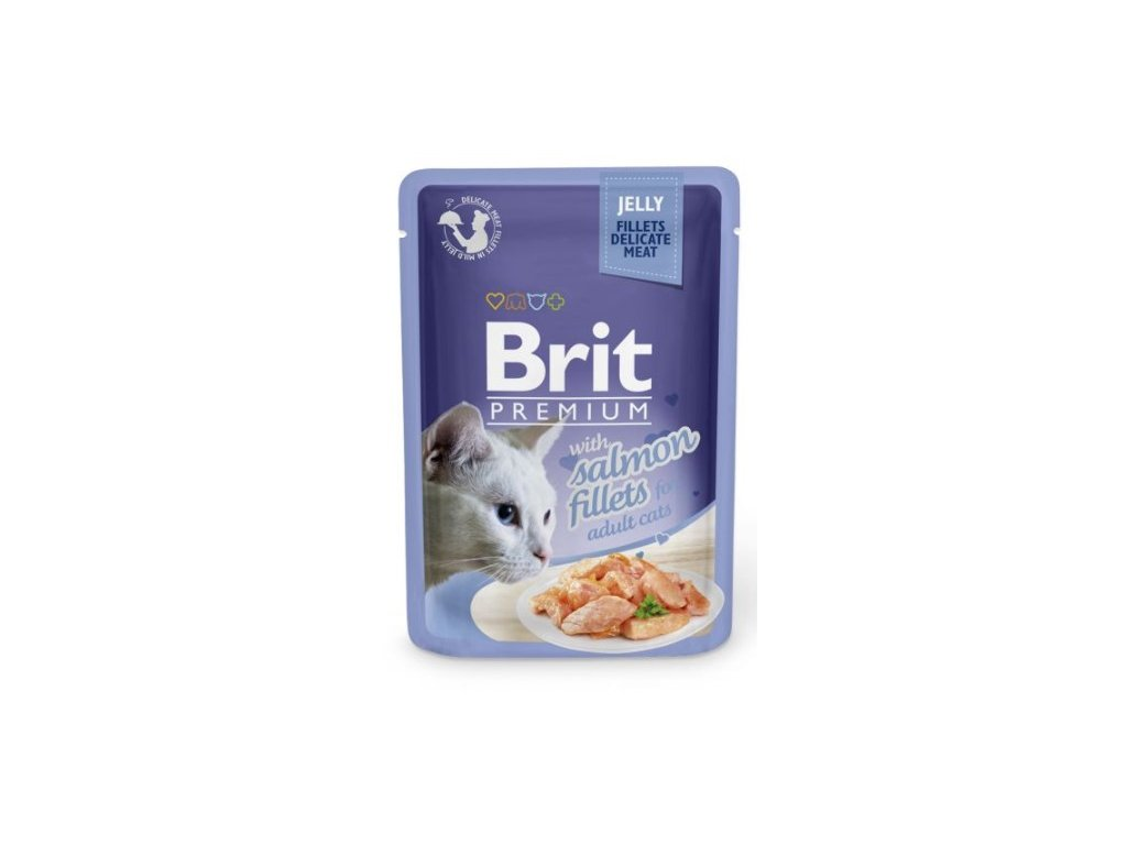 4443 brit premium cat delicate fillets in jelly with salmon 85g