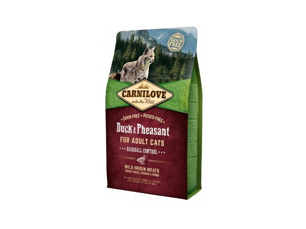 3774 carnilove cat duck pheasant for adult cats hairball control 2kg