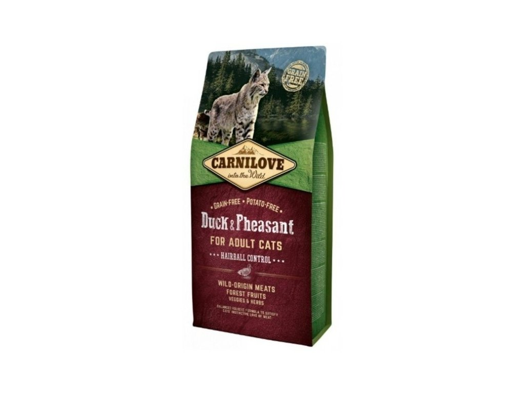 3792 carnilove cat duck pheasant for adult cats hairball control 6kg