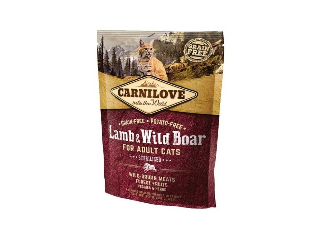 3762 carnilove cat lamb wild boar for adult cats sterilised 400g