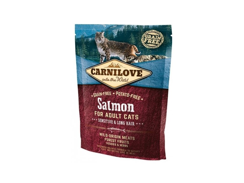 3759 carnilove cat salmon for adult cats sensitive long hair 400g