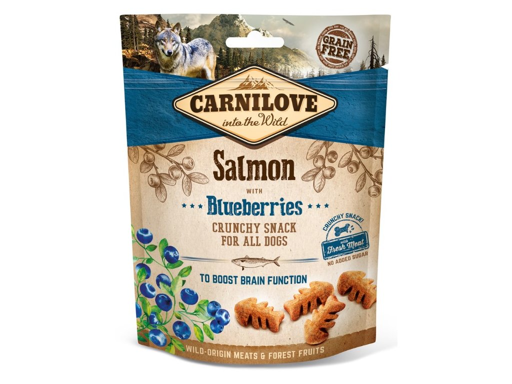 5244 carnilove dog crunchy snack salmon blueberries 200g