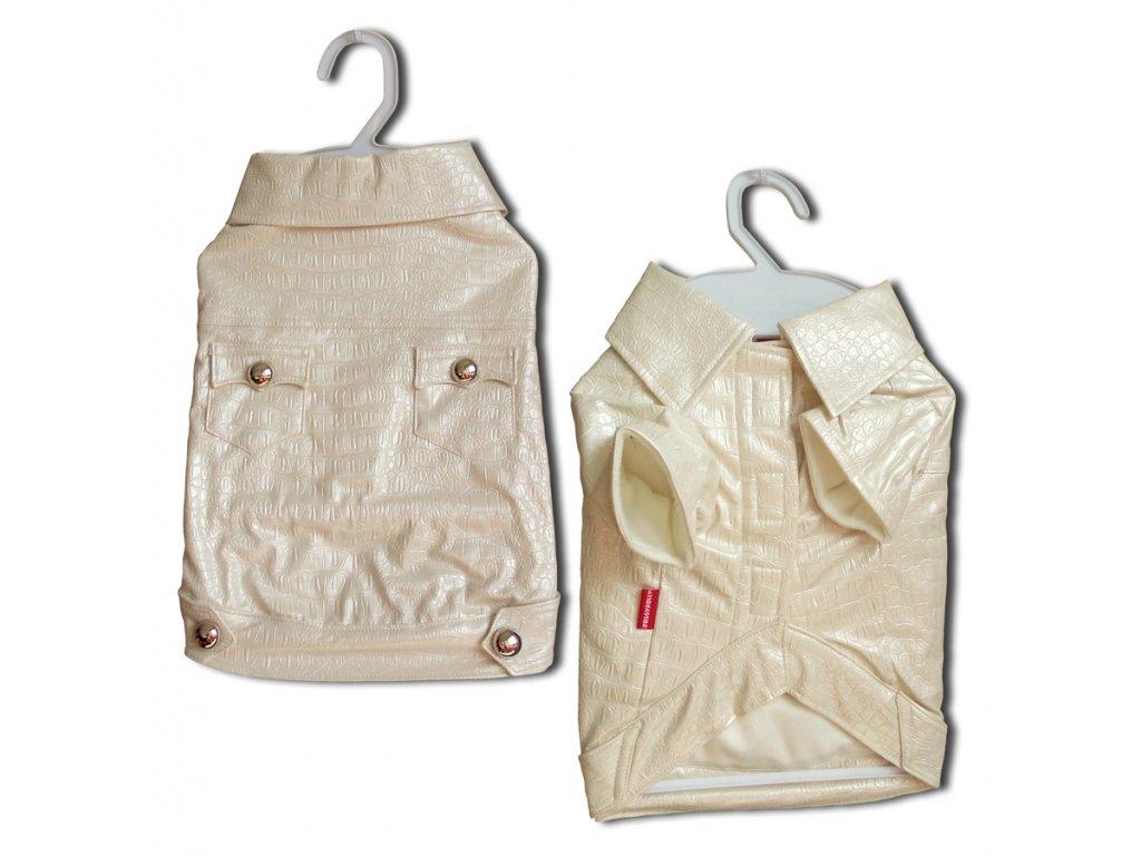 Kabátek Croco Artificial Leather White XL