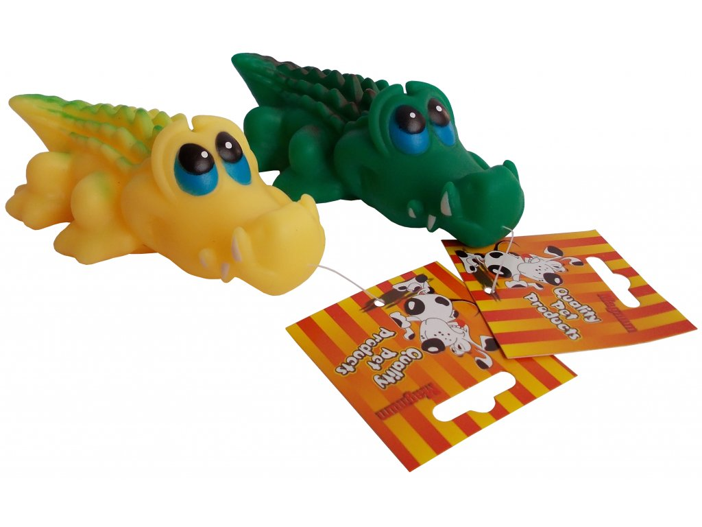 Vinylová hračka pro psy Krokodýl s pískátkem