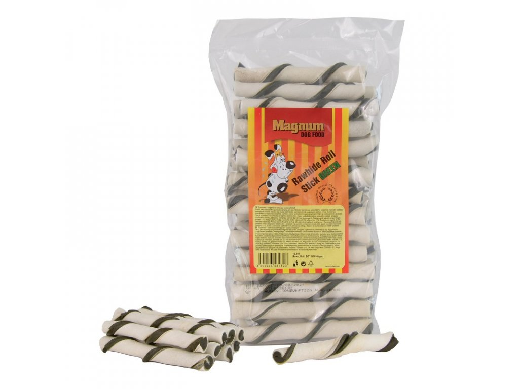 2106 magnum rawhide roll stick 5 12 5cm cca 40ks green white