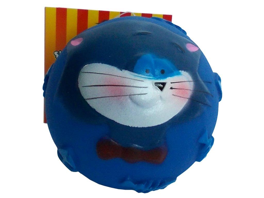 Hračka pro psy míček s obličejem modrý 7,5 cm