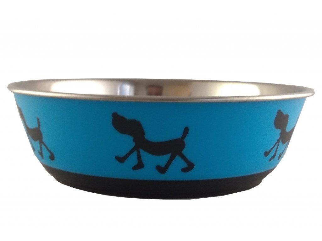Nerezová miska pro psy modrá s potiskem 400 ml
