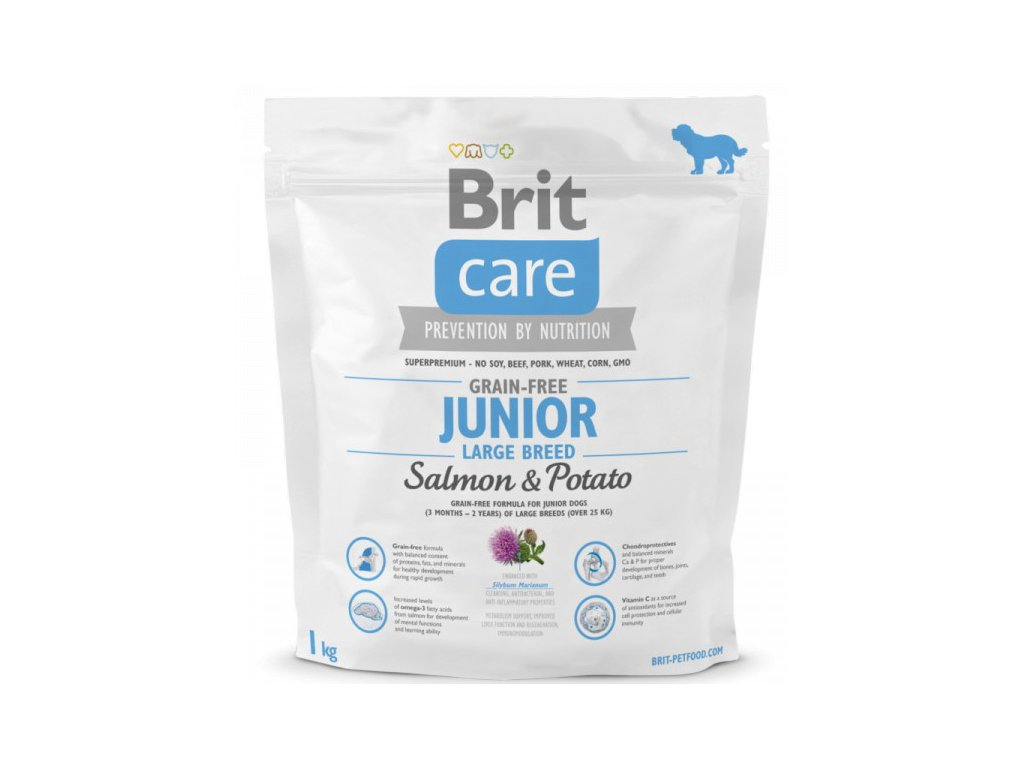 3564 new brit care grain free junior large breed salmon potato 1kg