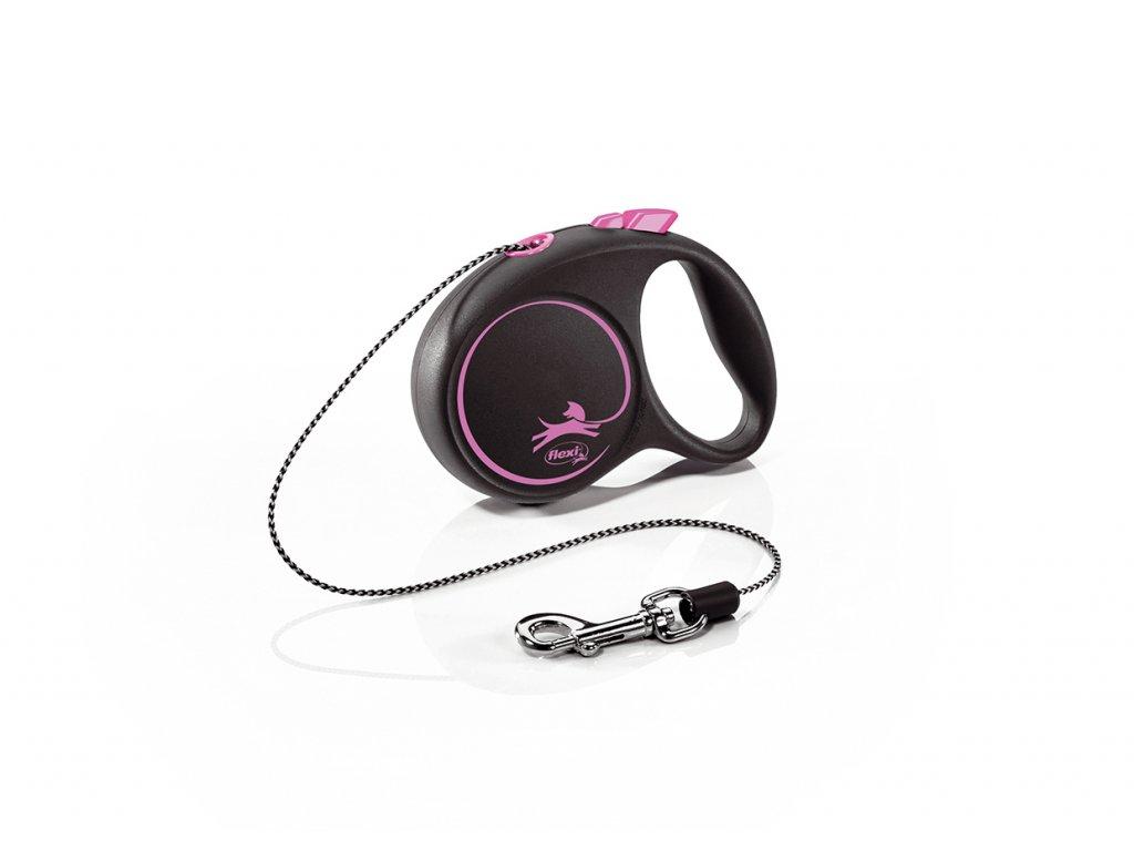 Vodítko Flexi Black Design XS 3m (max 8kg) lanko růžové