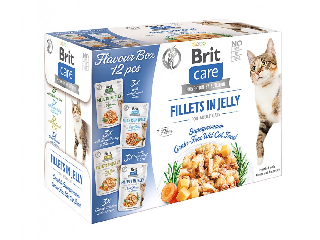 Brit Care Cat Flavour box Fillet in Jelly 4x3 pcs. 12x85 g