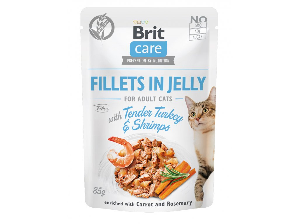 Brit Care Cat Fillets in Jelly with Tender Turkey & Shrimps 85 g