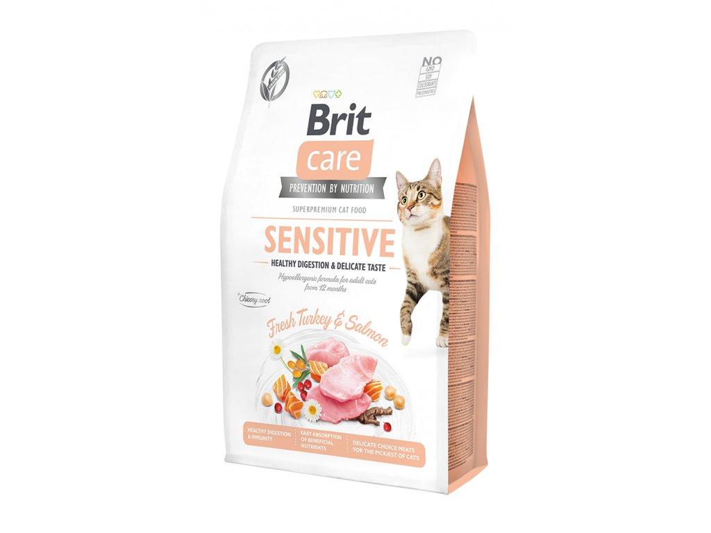 Brit Care Cat Grain-Free Sensitive Healthy Digestion & Delicate Taste 2 kg  + 5x konzerva Fish Dreams