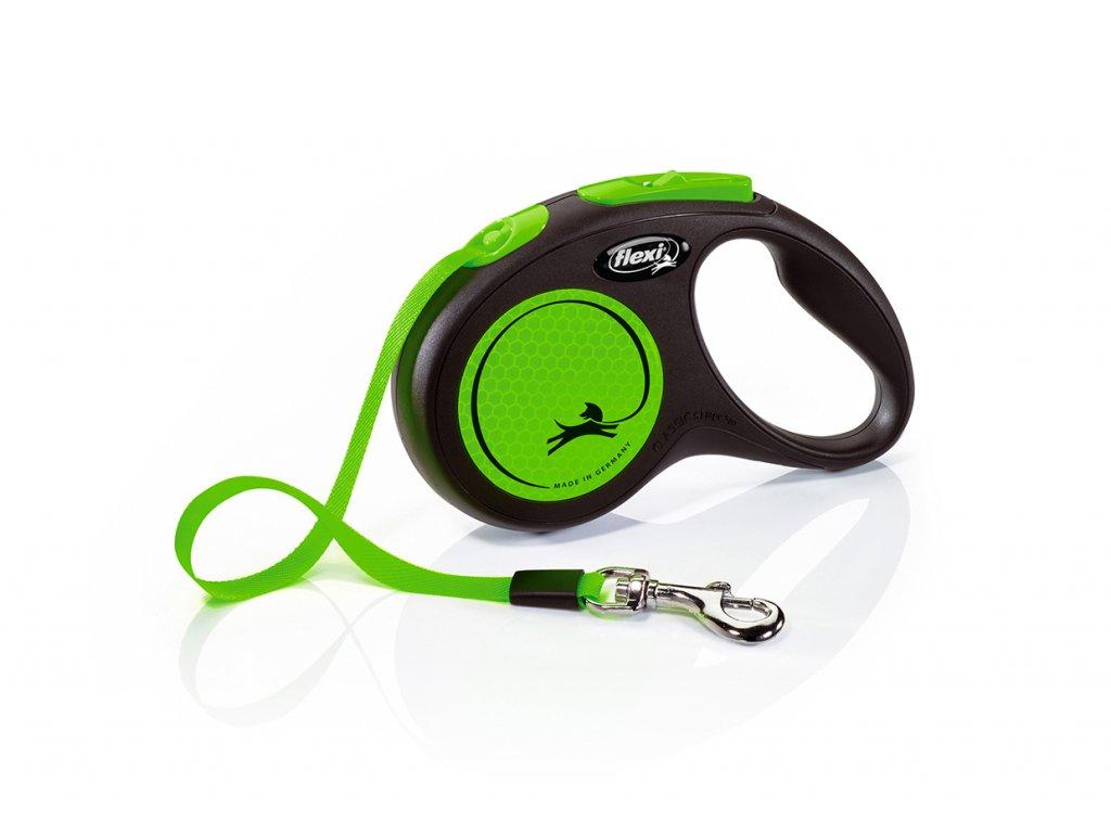 Flexi new NEON S pásek 5 m zelená max 15 kg