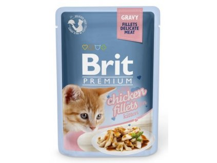 4470 brit premium cat delicate fillets in gravy chicken for kitten 85g
