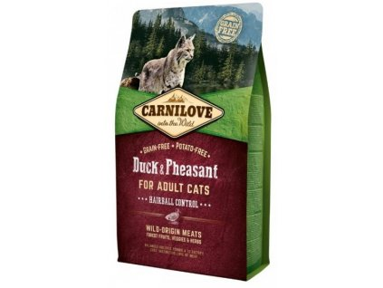 Carnilove Cat Duck & Pheasant for Adult Cats Hairball Control 2 kg