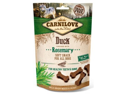 5256 carnilove dog semi moist snack duck rosemary 200g