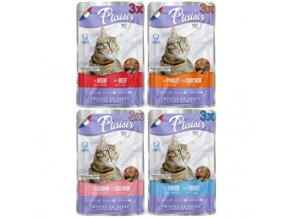 Plaisir Cat kapsičky MULTIPACK 12x100 g