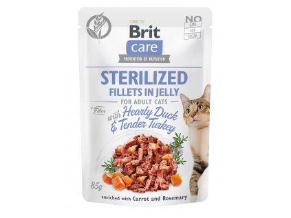 Brit Care Cat Sterilized. Fillets in Jelly with Hearty Duck & Tender Turkey