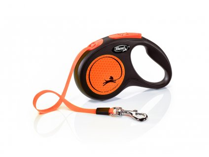 Flexi new NEON M pásek 5 m oranžová max 25 kg