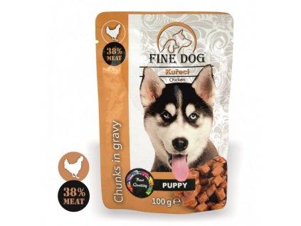 Fine Dog kapsička Puppy kuřecí v omáčce 100 g