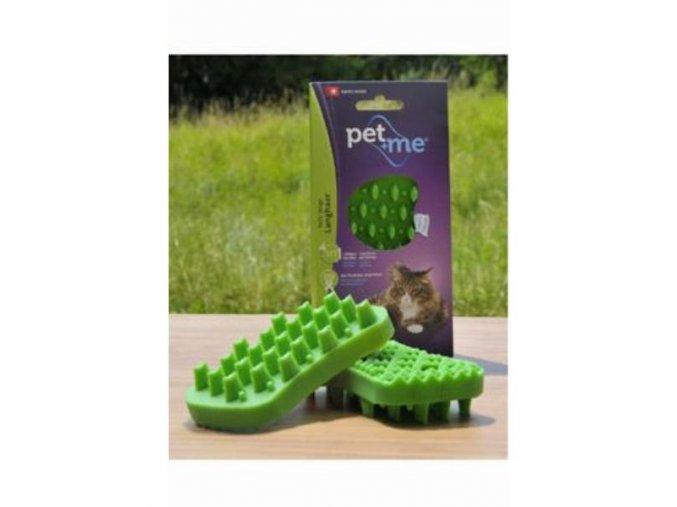 PET and ME kartáč pre mačky, dlhá srsť, zelený