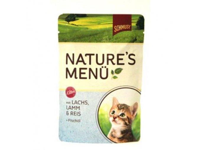 Schmusy Cat Nature Menu kapsa Junior losos+jahňa 100g