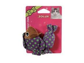 Hračka ryba a cukrík fialová so šantou 8cm Zolux