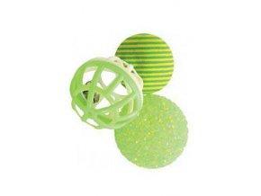 Hračka sada loptičiek s roľničkou 3ks 4cm zelená Zolux