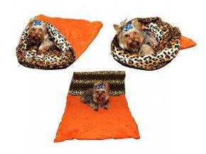 Spací vak 3v1 XL oranžová / leopard