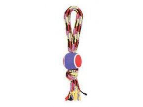Hračka pes tenisová loptička lano s rukoväťou 40cm Zolux