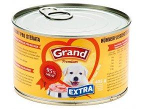 GRAND konzerva šteňa Extra kuracie kúsky 405g