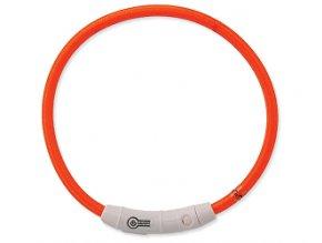 Obojok DOG FANTASY svetelný USB oranžový 45 cm