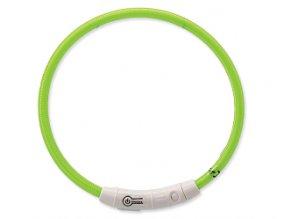 Obojok DOG FANTASY svetelný USB zelený 45 cm