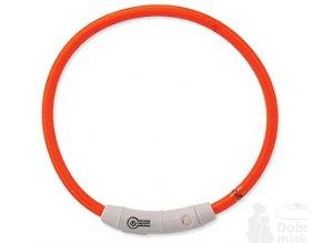 Obojok DOG FANTASY svetelný USB oranžový 65