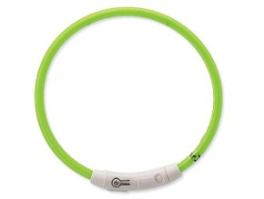 Obojok DOG FANTASY svetelný USB zelený 65